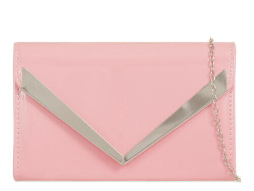 WOMENS PATENT ENVELOPE WEDDING METAL OVER FLAP PROM PARTY EVENING CLUTCH BAG