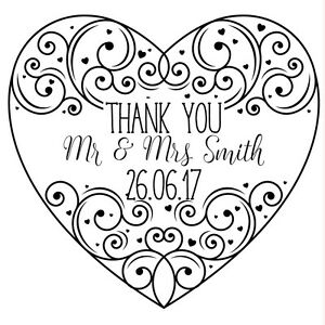 Wedding Thank You Personalised Laser Rubber Stamp Ornate Heart