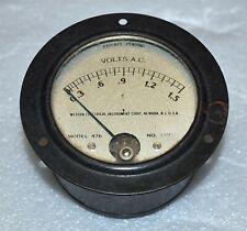 Weston Electrical Model 476 Panel Meter Ac Volts 0 15 Volt Vintage