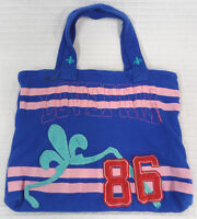 LOVE Pink VICTORIA'S Secret BLUE Knit JERSEY Tote BAG Purse HOBO Fleur DE Lis