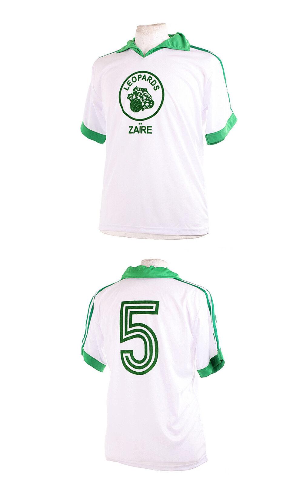 ZAIRE LEOPARDS WHITE 1974 WORLD CUP NUMBER 5 FOOTBALL SHIRT XXL