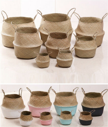 Foldable Natural Seagrass Woven Flower Basket Storage Holder Plant Pots