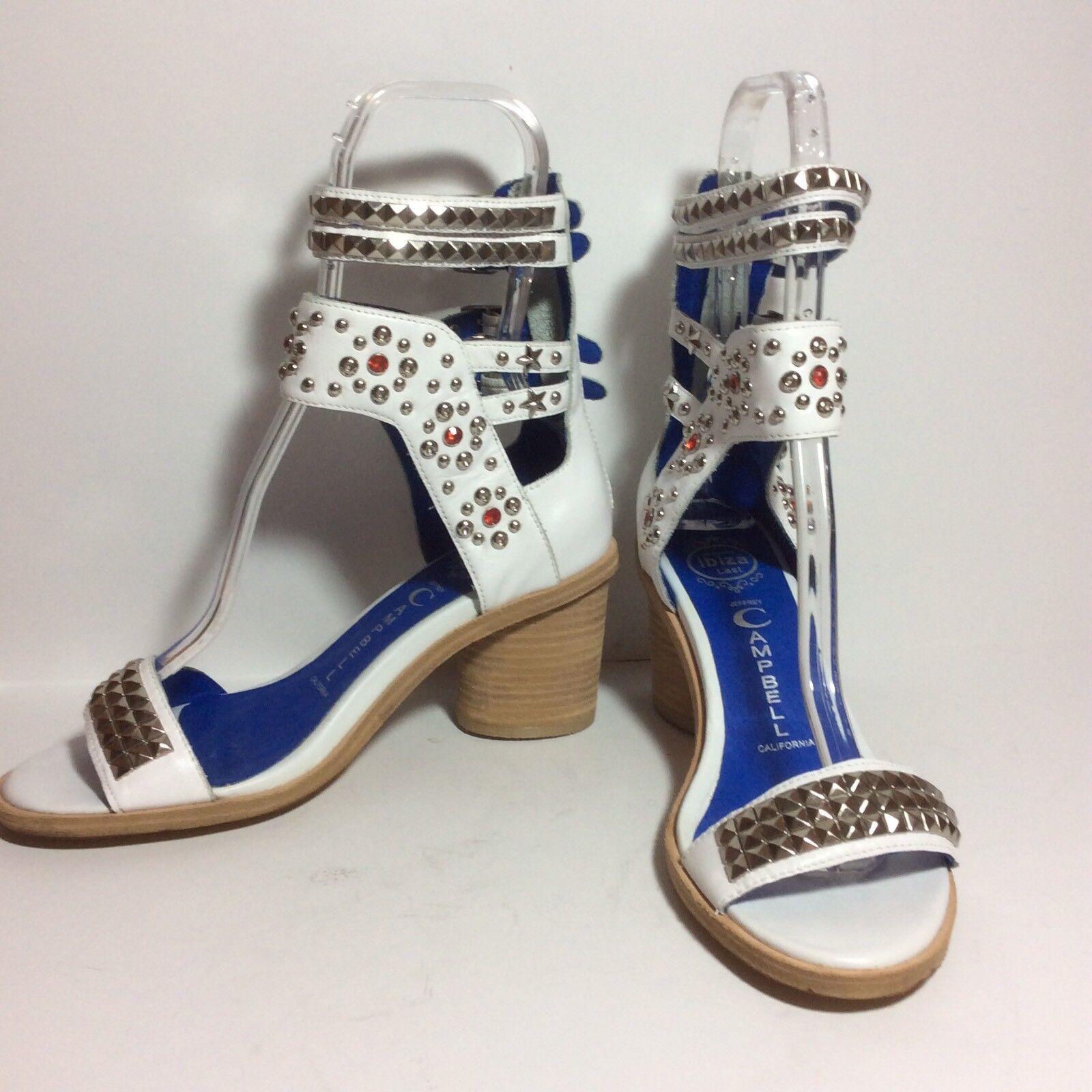 NEW Jeffrey Campbell Pow Wow Studded Heel White Leather Sz 8.5
