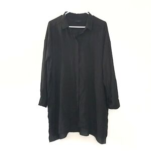 Cos-10-Long-Sleeve-Collared-Button-Front-Top-Blouse-Shirt-Black