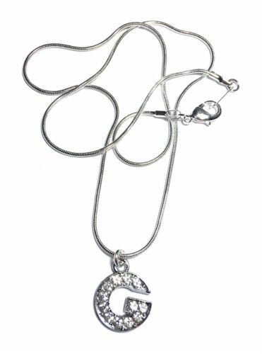 FizzyButton Gifts Silver initial letter charm necklace with rhinestones gift box