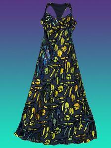 Vintage Black Velvet Floral Burn Out Maxi Dress