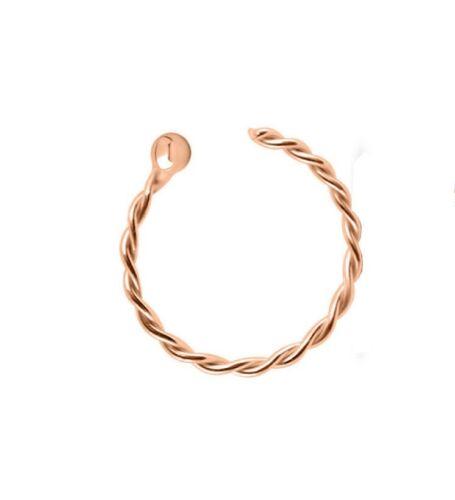 Argent Sterling 925 Torsadée Corde Argent Or Rose Hoop Nose Ring 20 G 8 mm Or