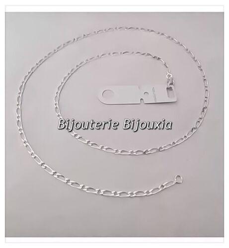 Chaîne Maille Figaro diamantée Longue 70cm  Argent Massif 925//1000 Bijoux Homme