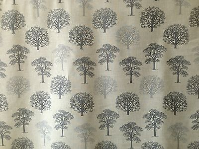 MARSON TREES GREY CREAM COTTON PRINT FLORAL CURTAIN SOFT FURNISHING FABRIC