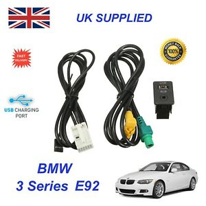 For BMW 3 E92 USB Aux Switch & USB Wire 3.5mm AUX Cable Adapter 3CD 035 249 A