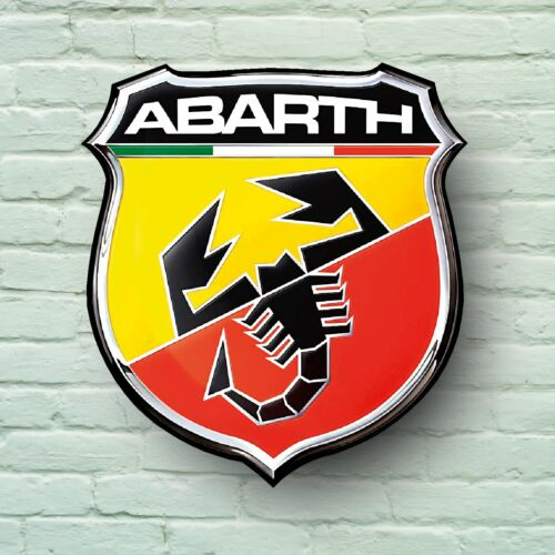 ABARTH LOGO 2FT LARGE GARAGE SIGN WALL PLAQUE CAR CLASSIC PUNTO FIAT 500 595