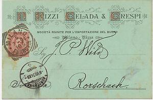 ITALIEN-1894-Koenig-Umberto-I-10-C-karmin-herrlicher-Firmenzier-Postkarte-MILANO