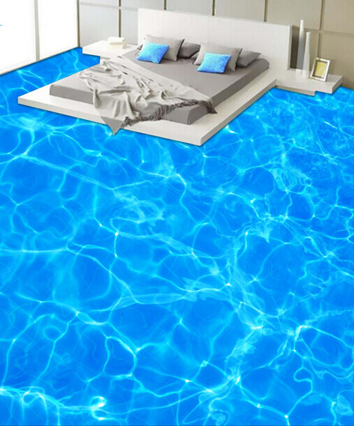 3D bluee Water Pond Floor WallPaper Murals Wall Print Decal 5D AJ WALLPAPER