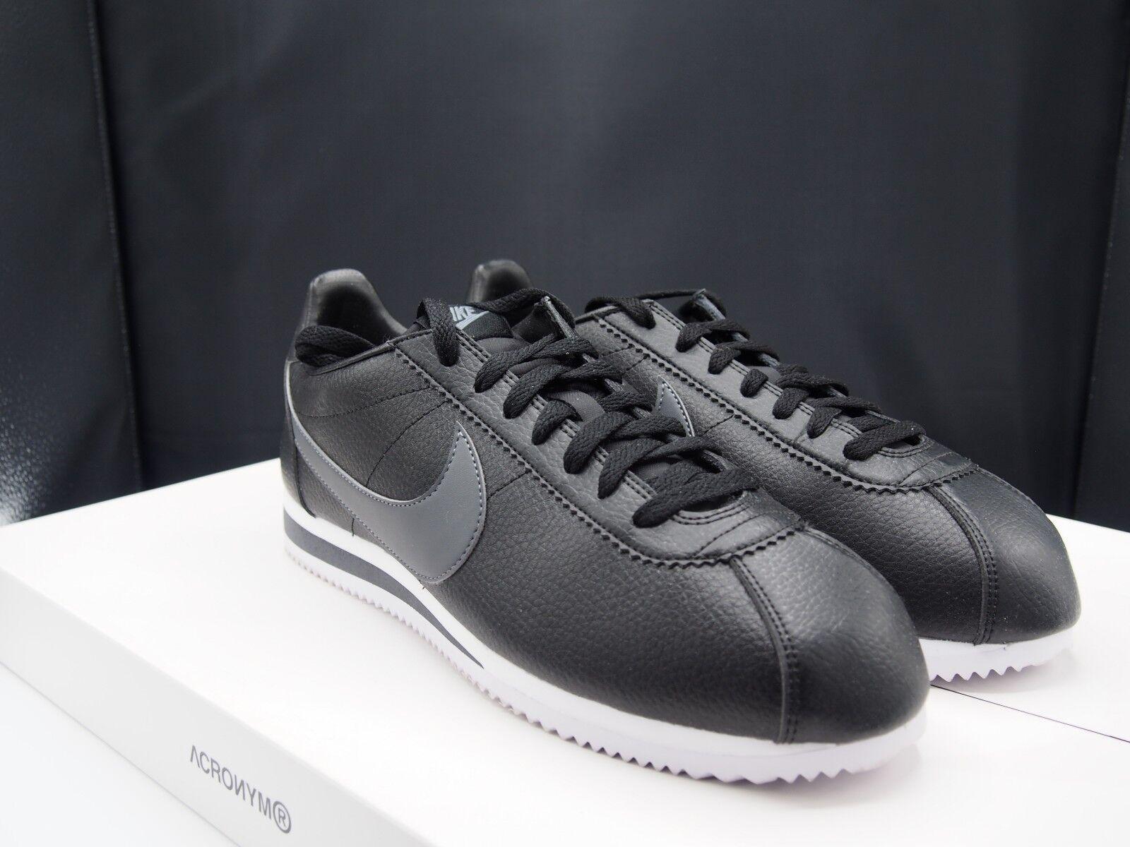 nike / cortez classic en cuir noir / nike gris foncé 749571-011 16d9a4