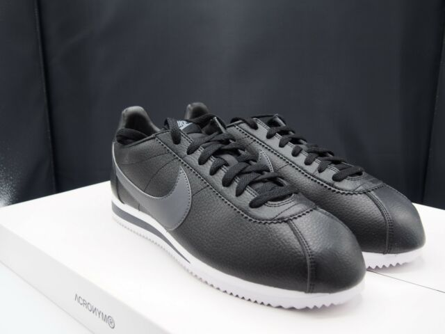 size 40 c5c25 4bb13 Nike Classic Cortez Leather Mens 749571-011 Black Grey Running Shoes Size  11.5 for sale online   eBay