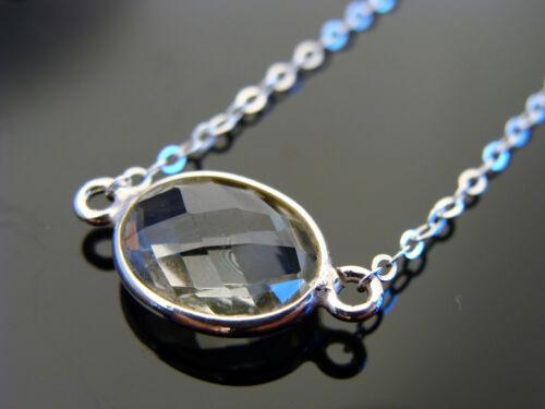 Bezel Set Green Amethyst Sterling Silver Link Necklace