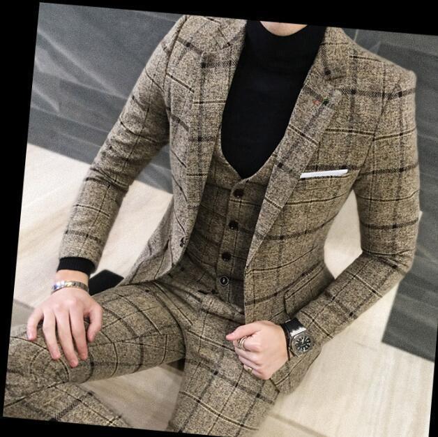 Men Vogue Dress Formal Business Wedding Blazer Suit 3PC Slim Fit Coat Stage New