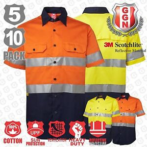 HI-VIS-Shirts-5-10-PACK-SAFETY-WORK-Wear-COTTON-DRILL-Short-3M-Tape-Back-Vents