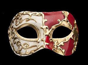 Masque De Venise Colombine Arlequin Rouge Et Dore Pour Bal Masque