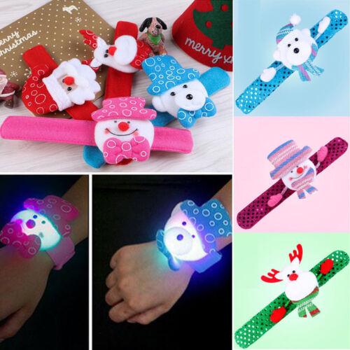 LED Light Glow Christmas Dazzling Toy Xmas Slap Circle Bracelet Wrist band aa