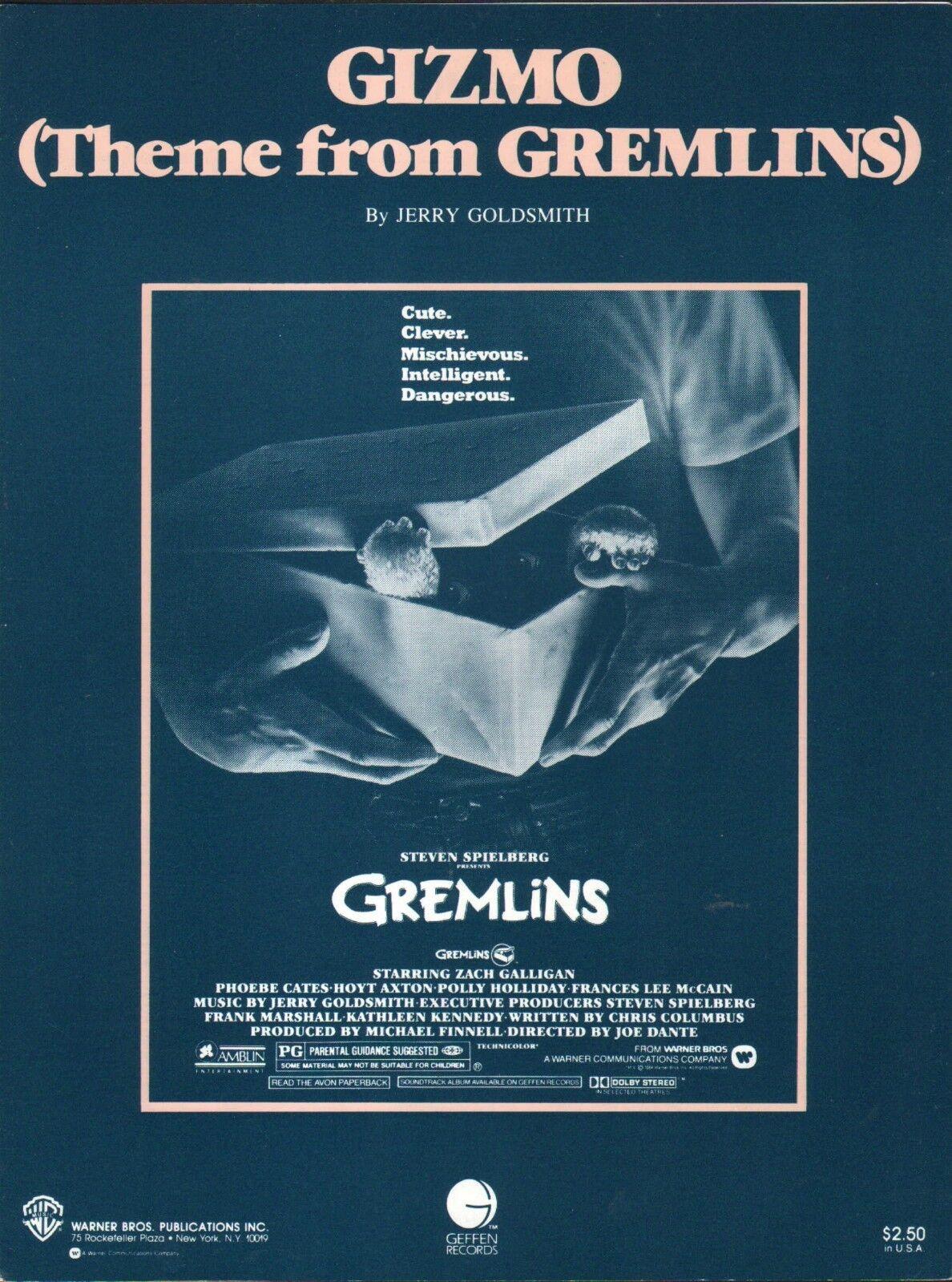 Gizmo 1985 GREMLINS Movie JERRY GOLDSMITH Sheet Music