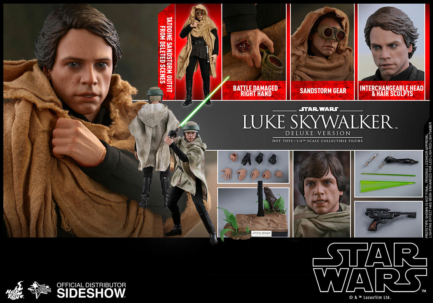 Hot Toys Star Wars Return of the Jedi LUKE SKYWALKER 1 6th Deluxe Figure MMS517