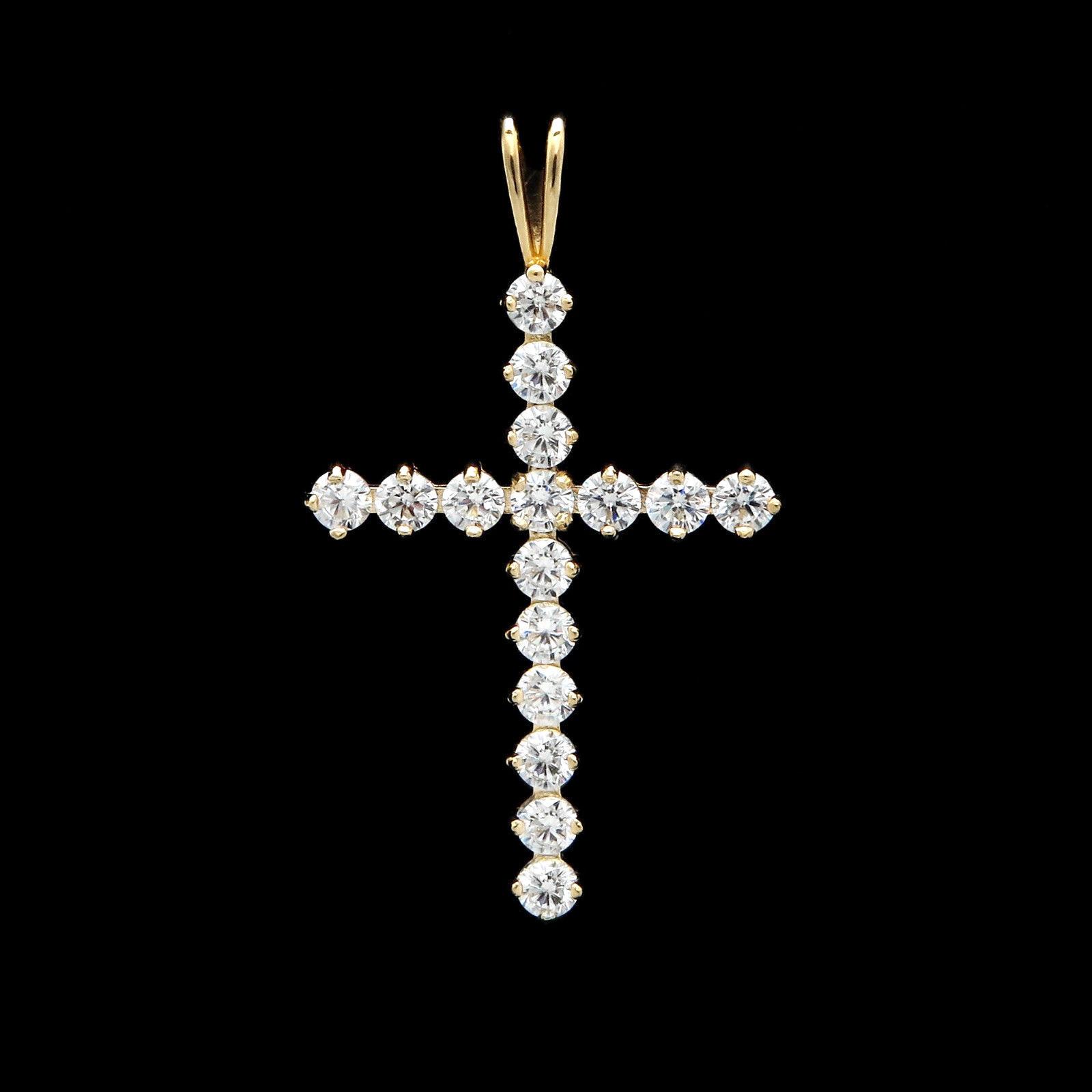 0.96tcw Brilliant Round Created Diamond Cross Pendant 14K Yellow gold Charm