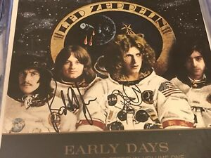 led zeppelin early days hits lp flat signed by plant and jones in person ebay. Black Bedroom Furniture Sets. Home Design Ideas