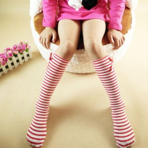 Girls Bow Knot Autumn Children Striped Tube Socks Cotton Princess Socks