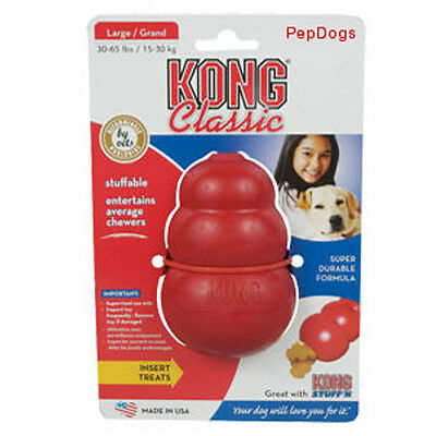 KONG LARGE Rubber Treat Dispenser Bouncy & Chew Toy - Worlds Best Dog Toy