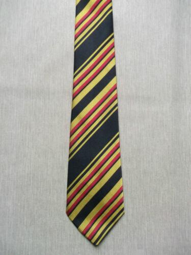 Mens Skinny Neck Tie  BLACK RED GOLD STRIPED