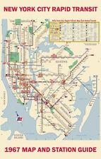 1967 New York Subway Map Poster 11x17