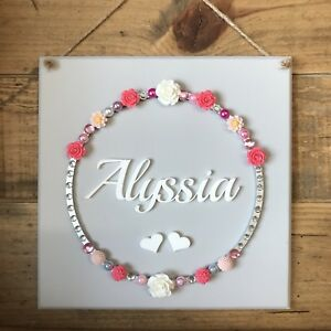 Details About Personalised Name Plaque Handmade Princess Wall Hanging Children Nursery Decor