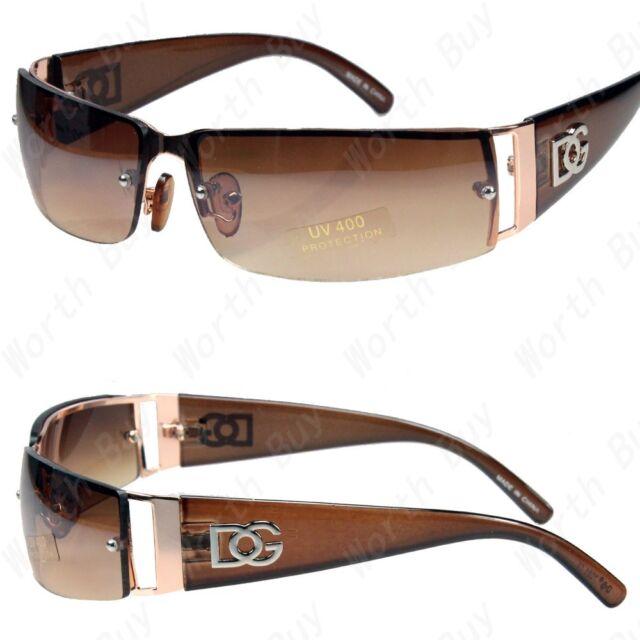 0c6546e52a5a2 New DG Mens Womens Rectangular Designer Sunglasses Shades Wrap Gold Brown  Retro