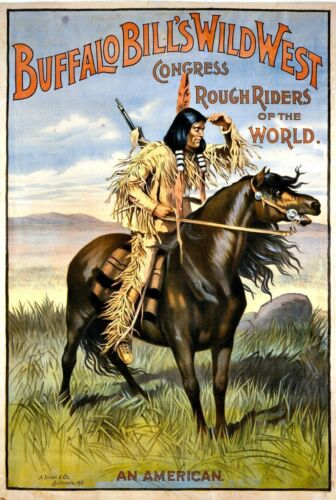 Native American Indian Buffalo Bills Rough Riders Horseback Poster Print A3 A4
