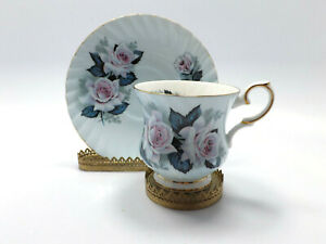 Elizabethan Fine Bone China Light Blue with Pink Roses Tea Cup & Saucer