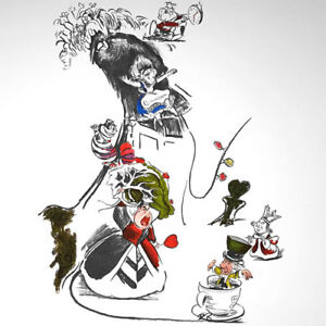 Alice-in-Wonderland-art-Queen-of-Hearts-Cheshire-Cat-WDCC-Characters-drawing