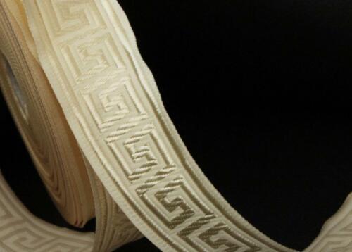 ivory cream darker cream classic greek key woven ribbon trim 35mm 2m 2 metres