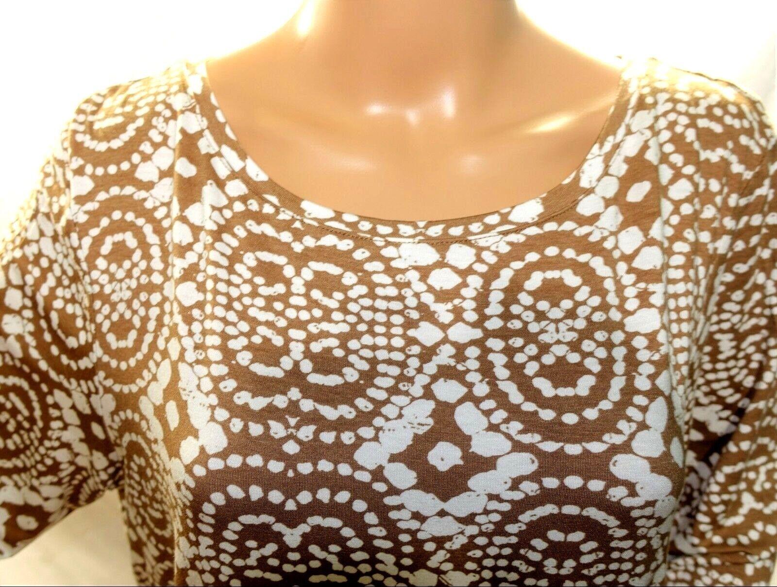 Women Petite Size PXL Tan Ivory Brown Tee T Shirt Top Blouse Shirt Ruby Rd