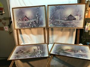 Vintage Mid Century Metal Tv Tray 4pc Set  Country Farm House Scene Serving Tray