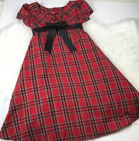 Bonnie Jean Girls Holiday Dress Plaid Tartan Red With Bow Size 12