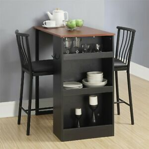 3 Piece Counter Height Dining Set With Storage Espresso 2 Padded Chairs Table Ebay