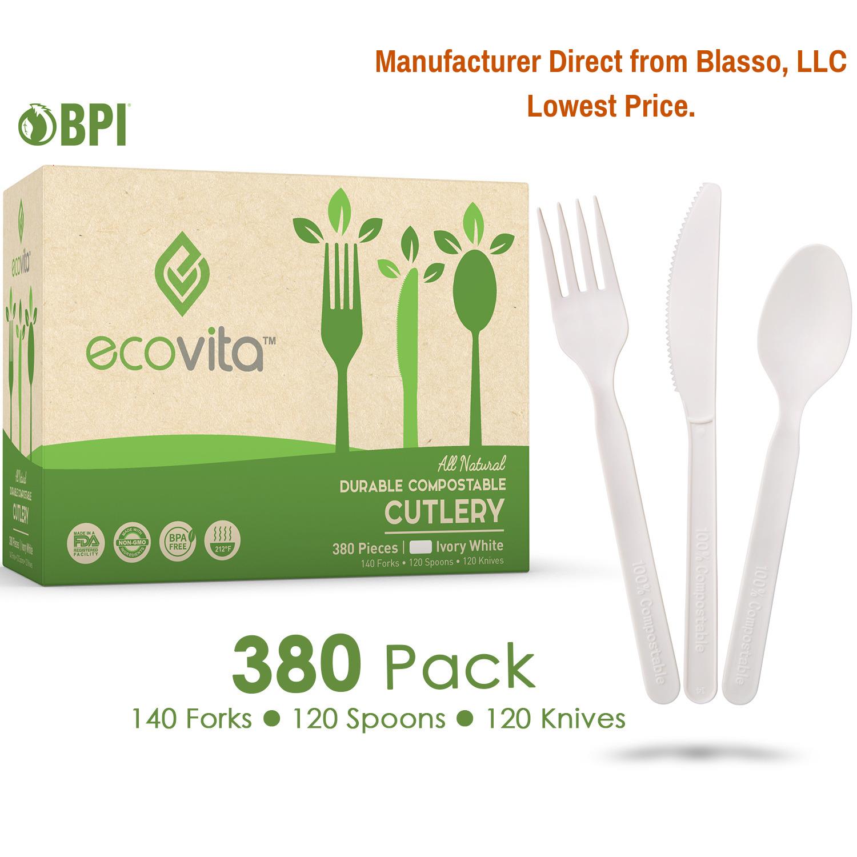 100% compostable fourchettes cuillères & couteaux 380 Qté-Ecovita Fabricant Direct