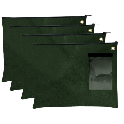 Forest Green Zipper Pouch Document Carrier Large Transit Bags Set of 4