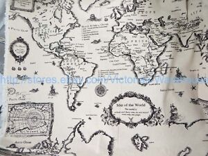 1 yard vintage retro world map cotton linen sewing quilting fabric image is loading 1 yard vintage retro world map cotton linen gumiabroncs Gallery