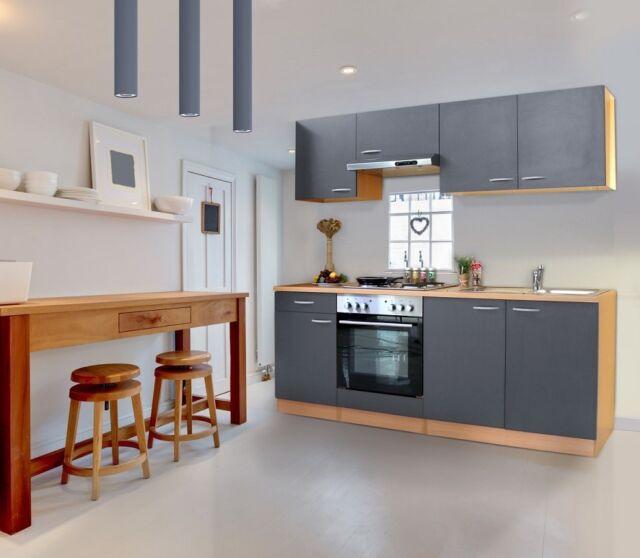 GroBartig Küche Küchenzeile Küchenblock Einbauküche Komplett 210 Cm Buche Grau  Respekta
