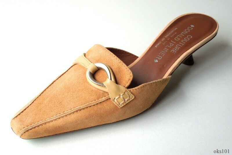 new DONALD J PLINER 'Miami' tan suede small heel mules slides Schuhes - gorgeous