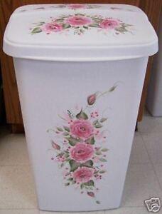 Hp roses shabby to chic trash can laundy hamper pink ebay - Shabby chic wastebasket ...