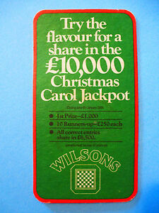 1984 Bière Dessous De Verre ~ Wilsons Brewery Noël Carol Jackpot ~ Angleterre