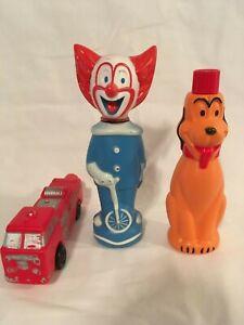 Vintage-Soaky-Colgate-Bottles-1960s-Fire-Truck-Bozo-the-Clown-Pluto-Set-of-3